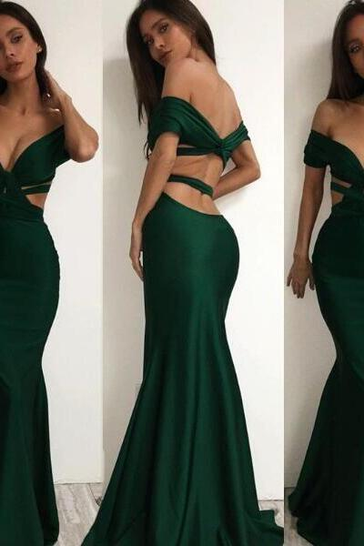 Sexy Emerald Green Prom Dress,Mermaid Cross Prom Dress,Off The Shoulder Long Party Dress, Halter V-Neck Crisscross Back Mermaid Evening Gowns,Long Prom Dresses,Cheap Prom Dresses,Evening Dress,Prom Gowns