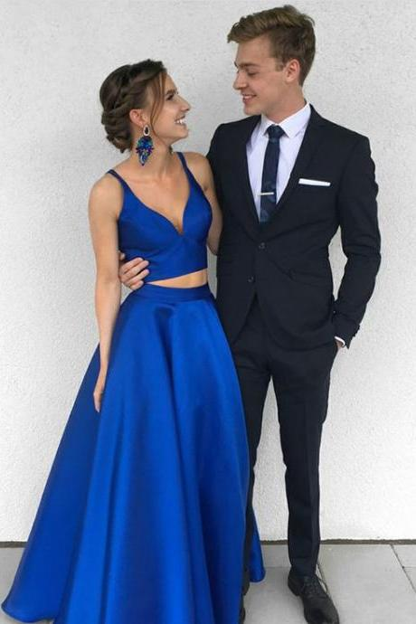 Sexy Royal Blue Two-Piece Long Prom Dress,Satin Blue Evening Dress, Evening Gowns,Long Prom Dresses,Cheap Prom Dresses,Evening Dress,Prom Gowns
