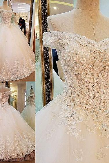 Lace Bridal Ball Gown with Off Shoulder,A Line Wedding Dresses with Lace Up,Beautiful Wedding Dress,JD 306 from June Bridal Dresses