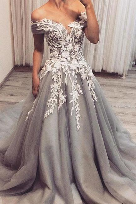 Off the Shoulder evening dress ,Light Gray prom dresses ,Tulle Court Train Prom dress ,with Appliques Lace wedding dress ,appliques party dress