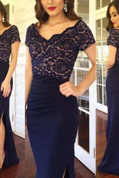 Navy Blue Prom Dress,Lace Prom Dresses,Fashion Prom Dress,Sexy Party Dress,Custom Made Evening Dress