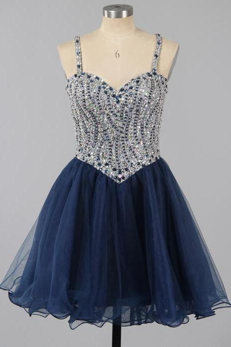 Beautiful Dark Navy Homecoming Dress, Spaghetti Straps A-line Sweetheart Homecoming Dresses, Crystal Beaded Tulle Short Homecoming Dresses