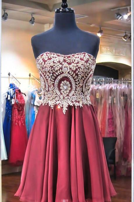 Gold Lace Homecoming Dresses,Burgundy Chiffon Short Prom Dresses,Prom Gowns