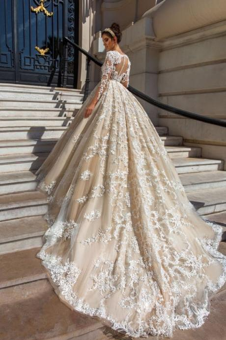 elegant lace appliques v neck tulle ball gowns wedding dress,Wedding Dresses, Wedding Gown