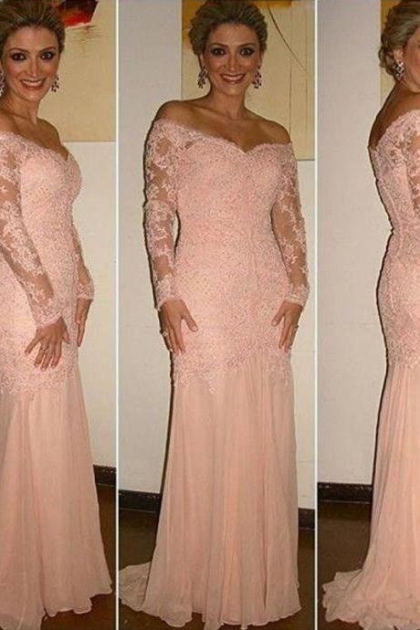 Long Sleeve Mother of the Bride Dresses Off the Shoulder Buttons Covered Back Blush Mermaid Evening Dresses