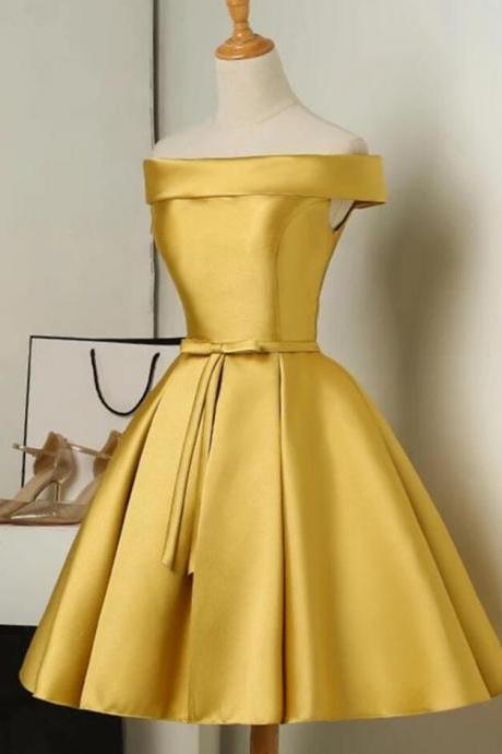 Gold Short Satin Off Shoulder Homecoming Dress, Simple Knee Length Teen Formal Dress,Prom Gowns