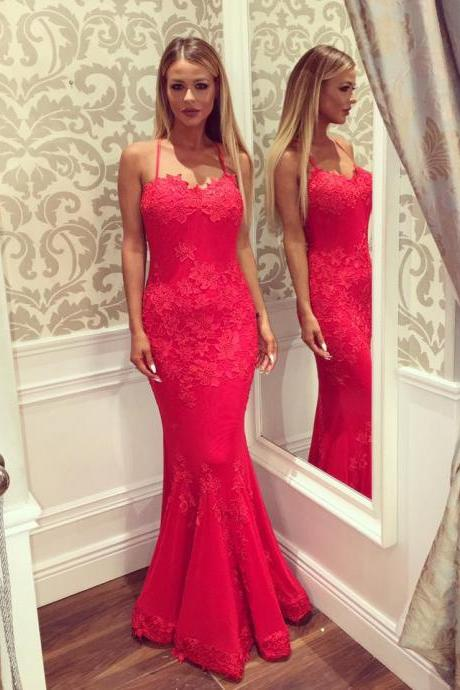 Red Evening Dress, Lace Applique Evening Dress, Spaghetti Strap Evening Dress, Mermaid Evening Dress, Elegant Evening Dress, Long Evening Dress, Sexy Formal Dresses