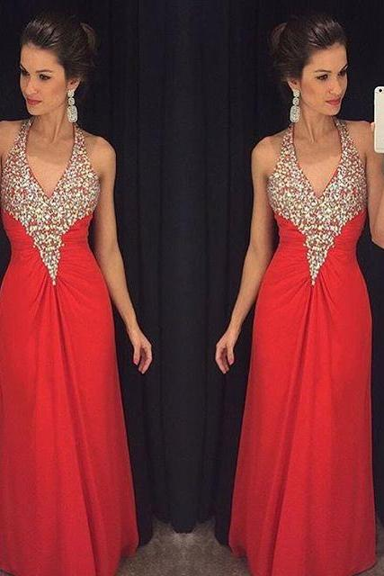 Red Chiffon Prom Dress,Chiffon Evening Gown,Long Formal Dress,Beaded Prom Gowns,Evening Dresses