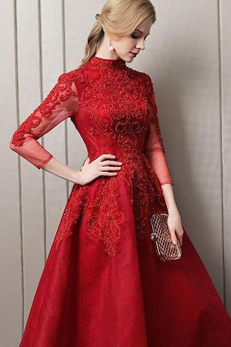 Red Long Evening Dress ,Red Satin prom dresses