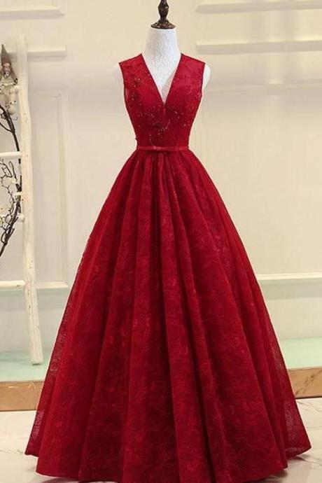 Dark Red Lace Long Formal Gown, V-neckline Party Dress, Prom Dresses