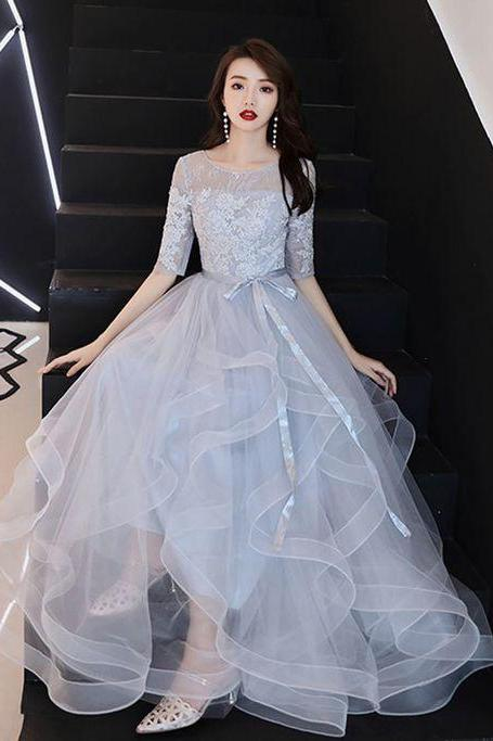 Elegant Grey Evening Dresses, A-Line / Princess Scoop Neck Prom Dress,Bow Lace Flower 1/2 Sleeves Backless Prom Dresses,Cascading Ruffles Floor-Length / Long Formal Dresses