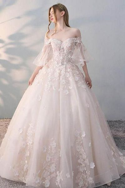 white Tulle bridal dresses, Lace Applique wedding dresses,Ball Gown Wedding Dress,off shoulder wedding dress
