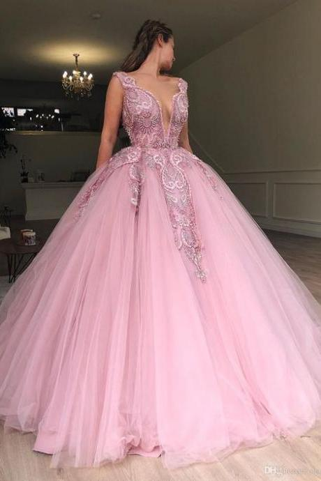 Pink Lace wedding dress, Appliqued bridal dress, Jewel Neck Tulle Ball Gown Prom Dress ,Long Sleeves wedding dresses