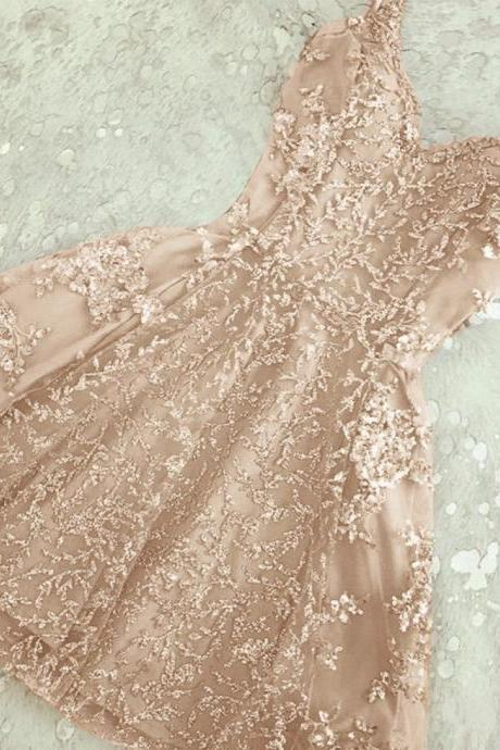 A-Line homecoming dress ,Spaghetti Straps homecoming dress ,Champagne/Grey Short Prom Homecoming Dress with Beading