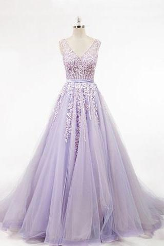 Lavender Ball Gown Prom Dress with Beads,back party dress ,long evening dress appliques dress
