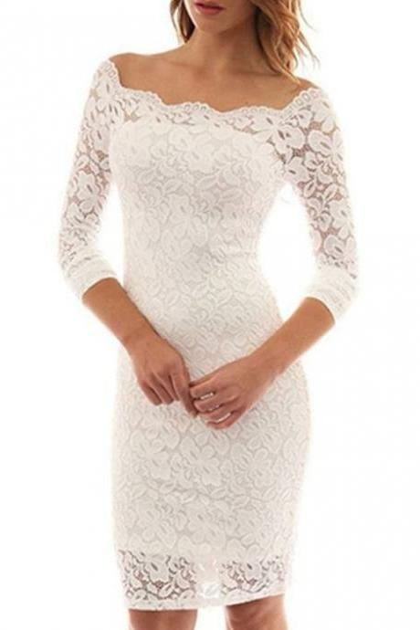 long sleeve prom dress white lace party dress mermaid homecoming dress off shoulder party dress