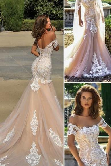 spaghetti mermaid wedding dresses,white appliques backless wedding dress ,sexy Long wedding Dresses With lace