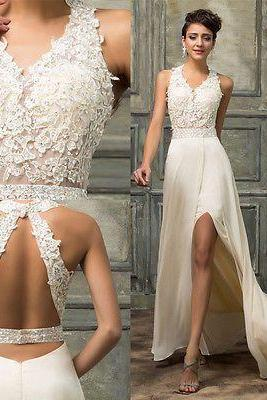 White Beaded wedding dress ,Long Sexy-V Formal Bridesmaid dress, Evening Prom Wedding Party Ball Gown Dress