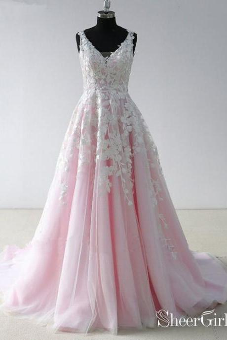 V Neck Lace Pink Long Prom Dresses ,Backless Cheap Prom Dress, Appliques evening dress