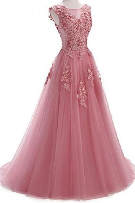 o-neck prom dress Tulle Jewel Neckline party dress A-line Wedding Dress With Lace Appliques evening dress & 3D Flowers & Beading