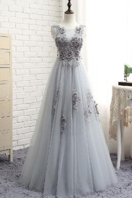 Grey Lace Long Prom Dresses tulle Cheap Prom Dress Appliques party dress
