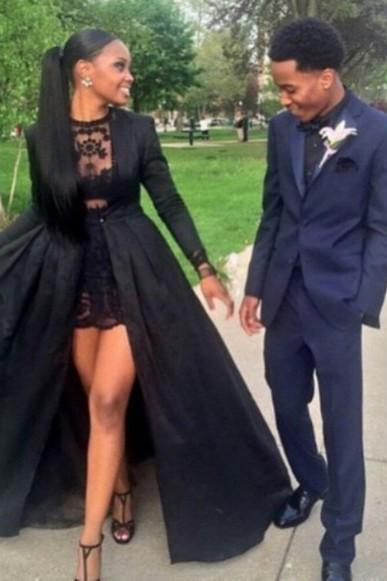 Custom Made Black Lace Prom Dresses, Black Lace Party Dresses