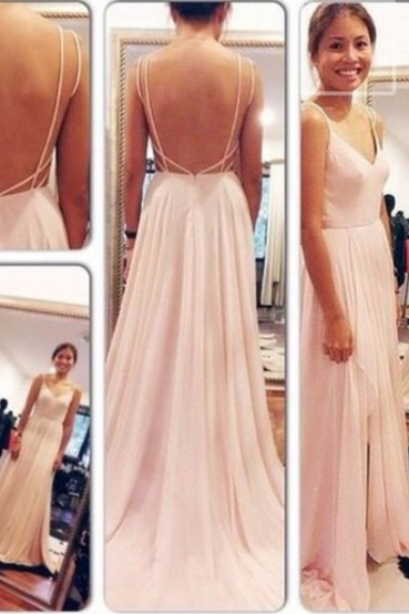 Custom Made A Line Sweetheart Neck Pink Backless Long Prom Dresses, Long Formal Dresses