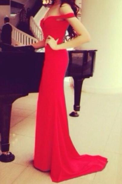Custom Made Off Shoulder Red Long Prom Dresses with Train, Red Long Formal Dresses, Evening Dresses