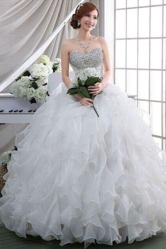 Luxury beads wedding dresses,A-line Wedding Dresses, organza Wedding Dresses , White Wedding Dreses, beads Wedding Gowns, Sexy Wedding Dresses, Long Bridal Dreses , Bridal Gown Wedding Dresses , Appliques Bridal Dresses,custom wedding dresses