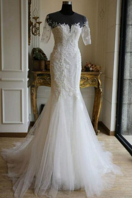New White/Ivory Half SLeeves Wedding Dress ,Bridal Gown ,A line Custom Backless Ivory Wedding Dresses, Long Backless wedding Dresses, Bridal Dresses, wedding Dresses, Formal Dresses,Sexy Sheer Pleats Country Style wedding dresses ,Lace Bridal Gown wedding dresses, Bridal Gownswedding dresses,custom wedding dresses
