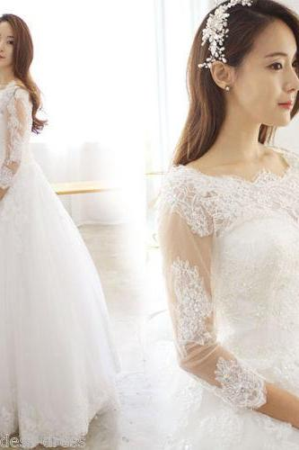 New 2016 white ivory 3/4 Sleeve Lace Wedding Dress Bridal Gown Custom Size ,Bridal Gown ,A line Custom Backless Ivory Wedding Dresses, Long Backless wedding Dresses, Bridal Dresses, wedding Dresses, Formal Dresses,Sexy Sheer Pleats Country Style wedding dresses ,Lace Bridal Gown wedding dresses, Bridal Gownswedding dresses,custom wedding dresses