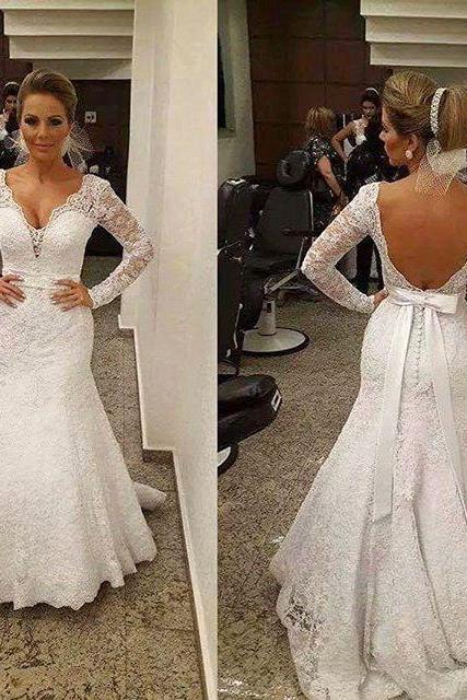 V-neck Wedding Dress,Wedding Dresses with belt,Backless Bridal Gowns,Lace Wedding Dresses,Wedding Dress Mermaid,Wedding Dresses,Wedding Dresses 2016,Wedding Dress Plus Size,Wedding Dress for Bride 2016,Wedding Dresses with sleeves,Long Sleeves Bridal Gowns, Said Mhamad Wedding Gown,custom wedding dresses
