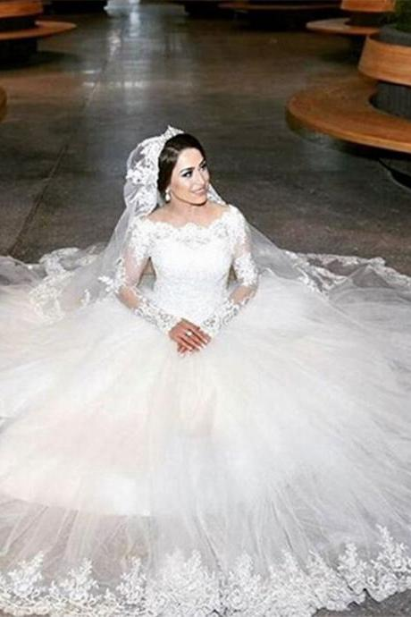 Long Sleeve Ivory Lace Princess Applique Wedding Dresses 2016 Cheap Bridal Ball Gowns,Custom Long Sleeve Lace Wedding Dress, White Wedding Dresses, Vintage Wedding Dress,Cheap Wedding Gowns, mermaid Bridal Dresses, Dress For Weddings,Wedding Gowns,Bridal Dresses, Bridal Wedding Gown,Bridal Dress,custom wedding dresses