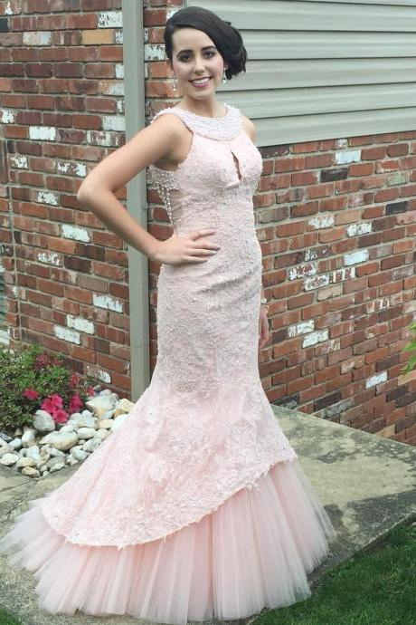 Unique Pearl Back Pink Lace Mermaid Prom Dresses 2016 Pageant Evening Gowns,Custom Made Evening Dress,Vestido de Noiva, Wedding Guest Dress