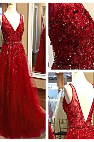 2017 Custom Made Charming Red Prom Dress, Sexy Beading Evening Dress,V-Neck Prom Dresses, tulle Prom Dress,Formal Gowns Plus Size, Cocktail Dresses, formal dresses,Wedding guests dresses