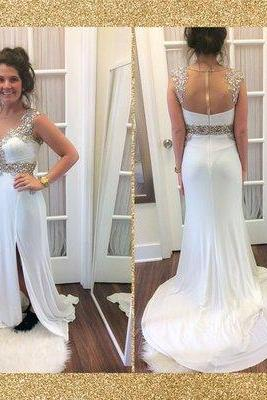 New Charming formal Dress,White Chiffon Prom Dress,Long Prom Dress,Sexy Backless Evening Dress, Sexy Backless formal Dresses , prom Gowns Plus Size, Cocktail Dresses, formal dresses,Wedding guests dresses