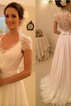 New Charming White Chiffon Wedding Dress,Lace V-Neck Bridal Dress,See Through Backless Wedding Dresses, Sexy Backless Prom Dress , prom Gowns Plus Size, Cocktail Dresses, formal dresses,Wedding guests dresses
