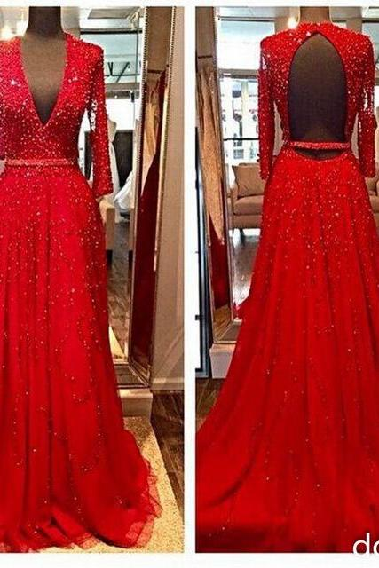New Design Elegant Red Long Sleeves Evening formal Dresses 2016 Beads Sequins V-Neck Open Backless Crystal Party Prom Gowns, Sexy formal Dress , prom Gowns Plus Size, Cocktail Dresses, formal dresses,Wedding guests dresses