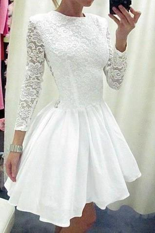 prom Dress,Custom Charming White Lace Homecoming Dress,Sexy Long Sleeves Evening Dress,Sexy See Through Prom Dress,Prom Dresses ,Vintage Homecoming Dresses, Lace Homecoming Dresses,girls party dress, sexy prom Dresses,homecoming dress , 2016 cheap short sexy prom dress .