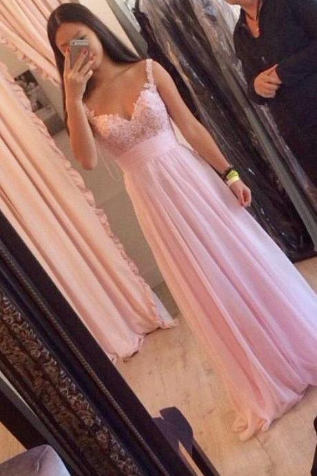 prom dress, New Design Spaghetti Straps Pink V Neck Chiffon Long Prom Gown Prom Dresses, Sexy Backless formal Dresses, prom Gowns Plus Size, Cocktail Dresses, formal dresses,Wedding guests dresses