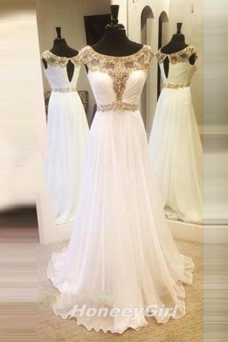 Prom Dress, Luxury beads Popular Prom Dress,White chiffon Prom Dress,Beaded Prom Dress,Cap Sleeve Prom Dress,Sequin Prom Dress,Long Prom Dress,Chiffon Prom Dress,Long Party Dress,Dress For Prom,Party Dress,Sexy Backless Prom Dresses,girls party dress, sexy prom Dresses,homecoming dress , 2016 cheap long sexy prom dress .
