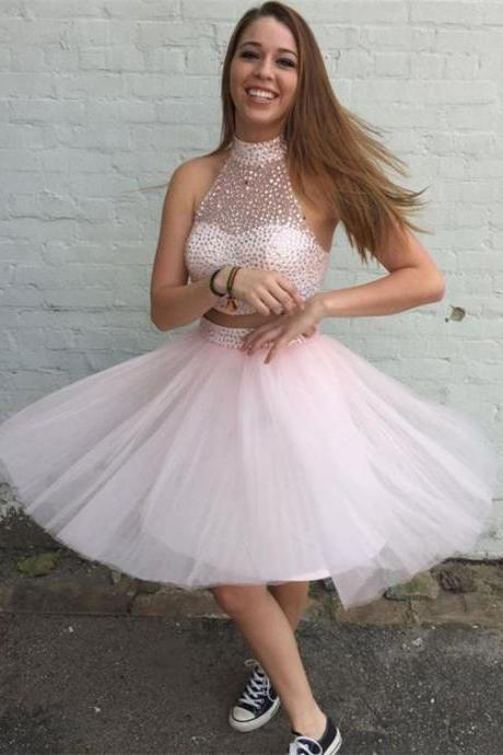 Homecoming Dress, tulle pink Homecoming Dress es,Halter Short Pink Tulle Graduation Dress with Beading