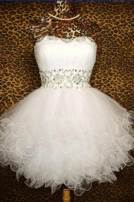 Homecoming Dress,Shinning Prom Dress,Cute Homecoming Dresses,Sweetheart Homecoming Dress,Open Back Homecoming Dress,Tulle Homecoming DressHomecoming Dress,White Homecoming Dress,Organza Homecoming Dress,Homecoming Dress With Rhinestone,Cute Dress