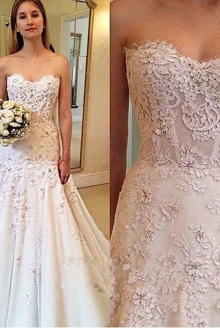 Wedding Dress,Custom Charming White Lace Wedding Dresses,Sweetheart Bridal Gown,Floor Length Wedding Dress