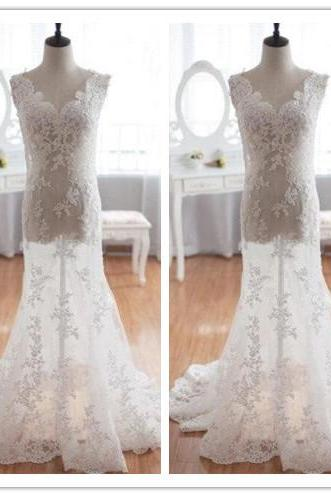 Wedding Dress, Wedding Dresses, A-Line Wedding Dress, Short Sleeve Wedding Dress, Empire Wedding Dress, Bridal Dress, Open Back Wedding Dress, Lace Wedding Dresses, Floor Length Wedding Dress, Hot Sale Wedding Dresses, High Quality Wedding Dress, Custom Made Wedding Dress