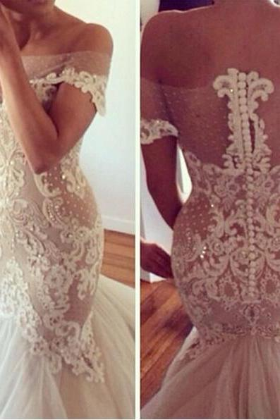 Lace Appliqués Mesh Off-The-Shoulder Floor Length Tulle Mermaid Wedding Dress