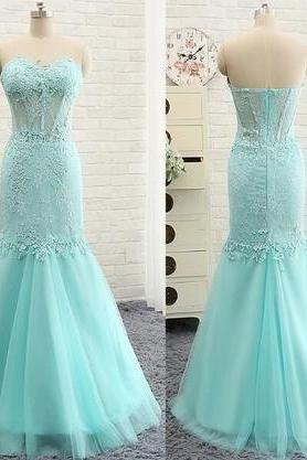 Prom Dress,Mermaid Graduation Dress, Custom Made Charming Light Blue Chiffon Prom Dresses, Sexy Strapless Evening Dress, Beading Mermaid Dress ,Quinceanera Dress