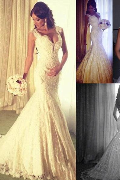 Wedding Dress,Custom White Beading Wedding Dress, Sexy Sleeveless Mermaid Bridal Dress ,Sexy V-Neck Wedding Dresses, Formal Dresses, High Quality Prom Dresses,High Quality Graduation Dress,Wedding Guest Dress