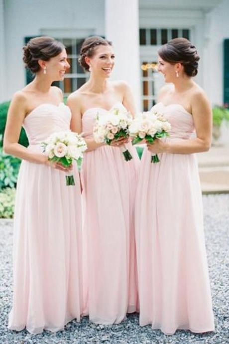 long bridesmaid dress,chiffon bridesmaid dress,pink bridesmaid dress,sweetheart bridesmaid dress,sleeveless bridesmaid dress,cheap bridesmaid dress