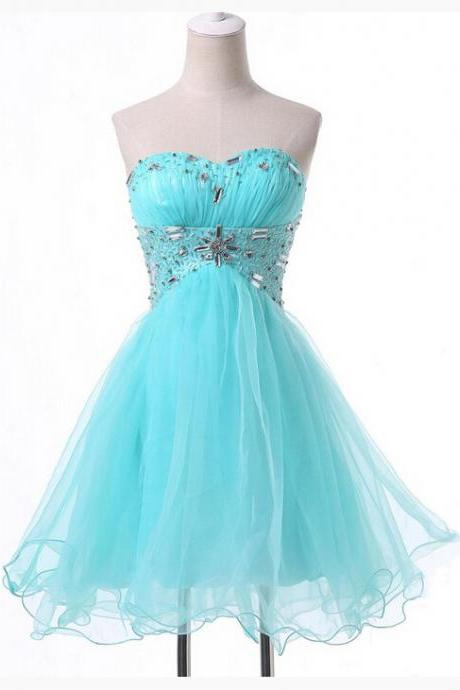 Beaded Embellished Tiffany Blue Ruched Sweetheart Short Tulle Homecoming Dress Featuring Lace-Up Back and Curly Hem